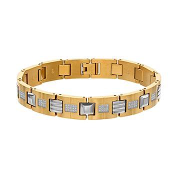 Men's Gold Tone Stainless Steel 1/2 Carat T.W. Diamond Bracelet