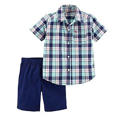 Toddler Boy Carter's Plaid Shirt & Shorts Set