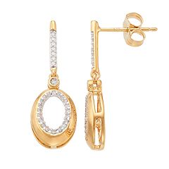 14k Gold Over Silver 1/5 Carat T.W. Diamond Oval Drop Earrings
