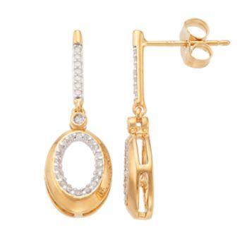 14k Gold Over Silver 1/5 Carat T.W. Diamond Oval Drop Earrings