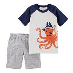Toddler Boy Carter's Octopus Raglan Top & Shorts Set