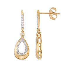 14k Gold Over Silver 1/5 Carat T.W. Diamond Teardrop Earrings