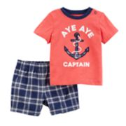 "Toddler Boy Carter's ""Aye Aye Captain"" Anchor Top & Plaid Shorts Set"