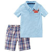 Toddler Boy Carter's Crab Pocket Polo & Plaid Shorts Set