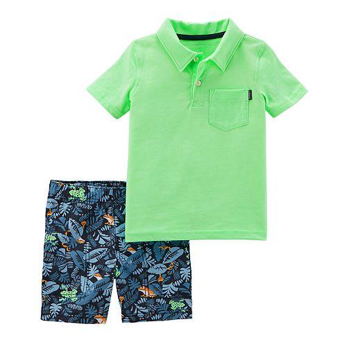 Toddler Boy Carter's Solid Polo & Palm Leaf Print Shorts Set