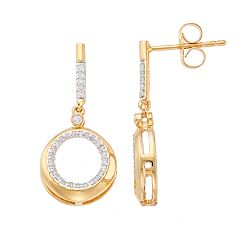 14k Gold Over Silver 1/5 Carat T.W. Diamond Hoop Drop Earrings
