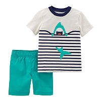 Toddler Boy Carter's Striped Shark Tee & Solid Shorts Set