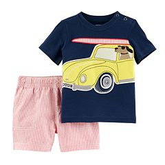 Toddler Boy Carter's Beach Buggy & Dog Applique Tee & Pinstripe Shorts Set