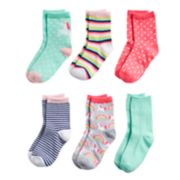 Girls 4-8 Carter's 6-pack Unicorn Crew Socks