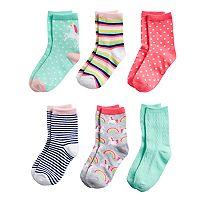 Girls 4-8 Carter's 6-pack Unicorn Crew Socks