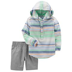 Toddler Boy Carter's Striped Hooded Henley & Shorts Set