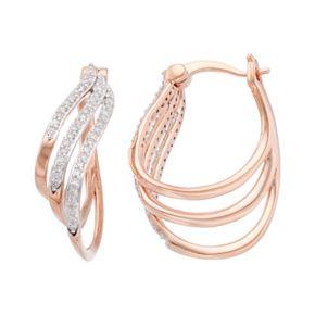 14k Rose Gold Over Silver 1/3 Carat T.W. Diamond U-Hoop Earrings