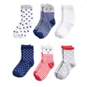 Girls 4-8 Carter's 6-pack Critter Crew Socks