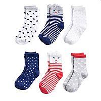 Girls 4-8 Carter's 6-pack Critter Crew Socks