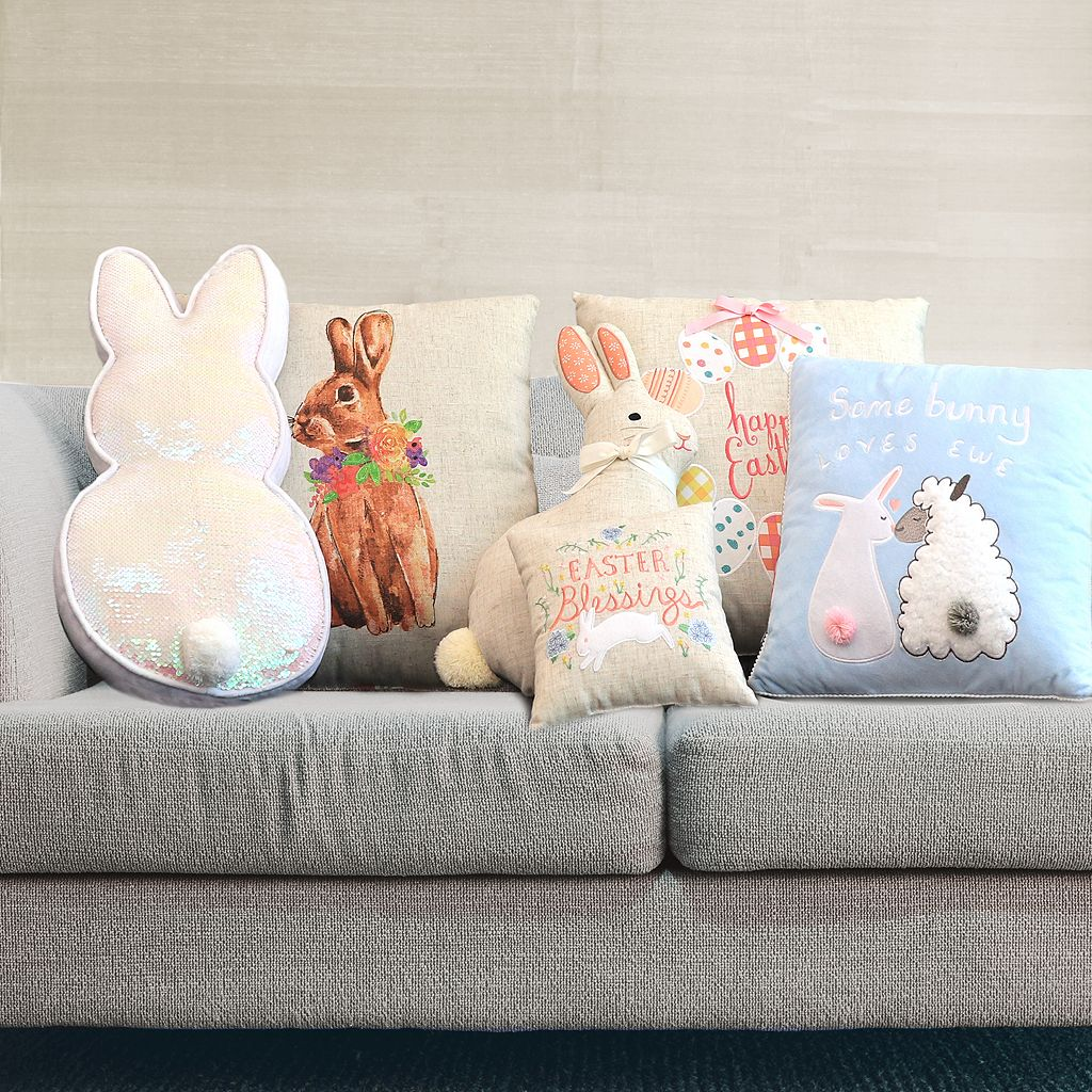 Celebrate Easter Together Easter Bunny Shaped Throw Pillow