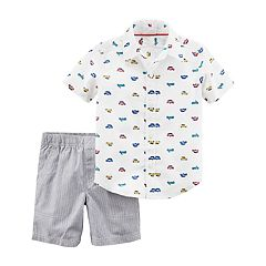Toddler Boy Carter's 2-pc. Car Print Shirt & Shorts Set