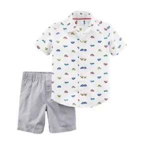 Toddler Boy Carter's 2-pc. Car Print Shirt & Shorts Set