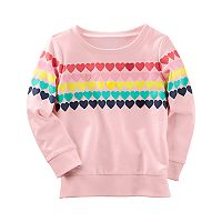 Toddler Girl Carter's Hearts French Terry Pullover Sweater