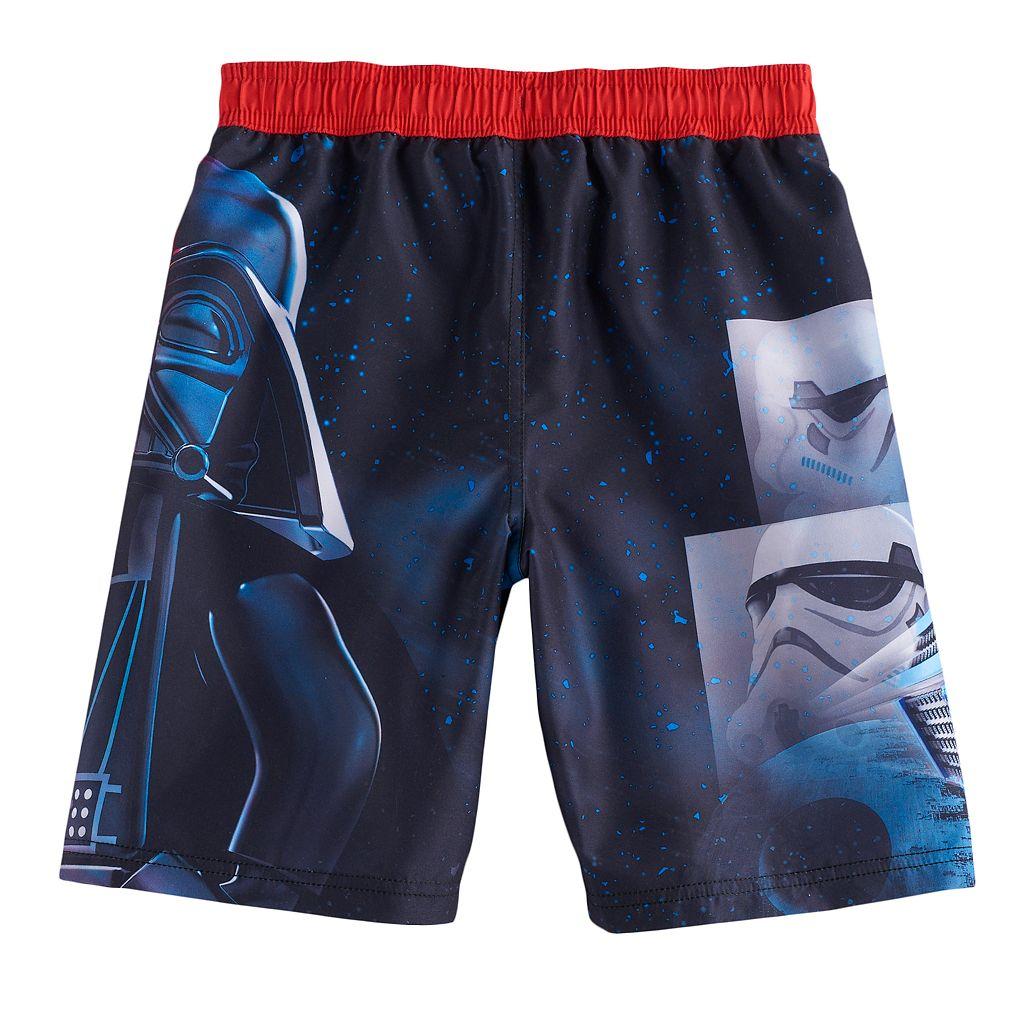 Boys 4-7 Star Wars Darth Vader & Stormtrooper UPF 50 Swim Trunks