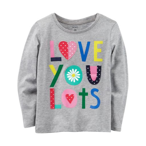 "Toddler Girl Carter's ""Love You Lots"" Embroidered Graphic Tee"