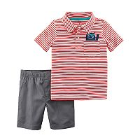 Toddler Boy Carter's 2 pc Red Stripe Polo & Shorts Set