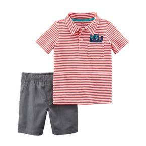 Toddler Boy Carter's 2-pc. Red Stripe Polo & Shorts Set