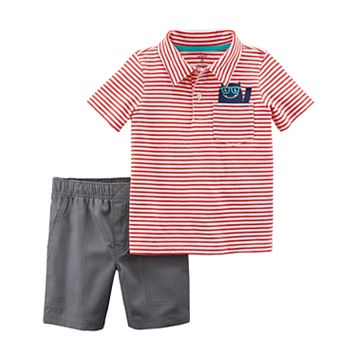 Toddler Boy Carter's 2-pc. Red Stripe Polo & Shorts Set