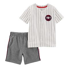 Baby Boy Carter's 'Little Slugger' Baseball Top & French Terry Shorts Set