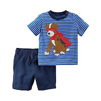 Toddler Boy Carter's 2-pc. Dog Stripe Top & Shorts Set