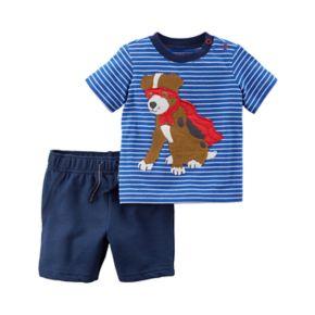 Toddler Boy Carter's 2-pc. Dog Stripe Top & Shorts Set