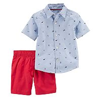 Baby Boy Carter's Nautical Schiffli Print Shirt & Shorts Set