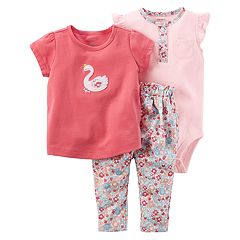 Baby Girl Carter's Bodysuit, Swan Graphic Tee & Floral Pants Set