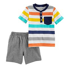 Toddler Boy Carter's Striped Henley Top & Knit Shorts Set