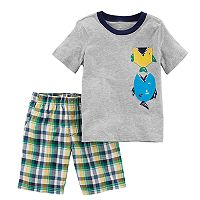 Toddler Boy Carter's Fish Tee & Plaid Shorts Set