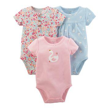 Baby Girl Carter's 3-pk. Floral & Swan Bodysuits