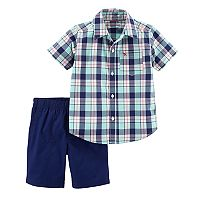 Baby Boy Carter's Plaid Short Sleeved Shirt & Shorts Set