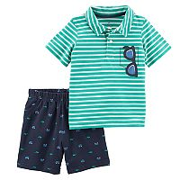 Toddler Boy Carter's Striped Sunglasses Polo & Shorts Set