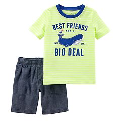 Toddler Boy Carter's 'Best Friends Are A Big Deal' Tee & Chambray Shorts Set