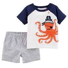 Baby Boy Carter's Pirate Octopus Raglan Tee & Striped Shorts Set