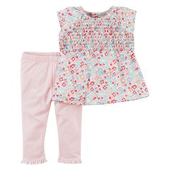 Baby Girl Carter's 2 pc Floral Top & Legging Set