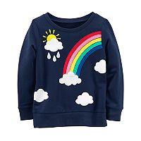 Toddler Girl Carter's Rainbow, Cloud & Sun French Terry Graphic Pullover Sweater
