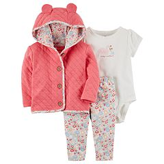 Baby Girl Carter's Quilted Jacket, 'Daddy's Sweetheart' Swan Bodysuit & Floral Pants Set
