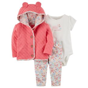 "Baby Girl Carter's Quilted Jacket, ""Daddy's Sweetheart"" Swan Bodysuit & Floral Pants Set"