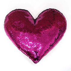 Celebrate Valentine's Day Together Heart Shaped Sequin Plush Back Reversible Throw Pillow