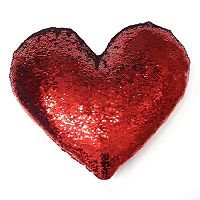 Celebrate Valentine's Day Together Heart Shaped Sequin Throw Pillow