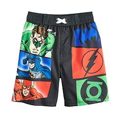 Boys 4-7 DC Comics Green Lantern, Batman & The Flash Swimming Trunks