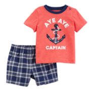 "Baby Boy Carter's ""Aya Aye Captain"" Graphic Top & Plaid Shorts Set"