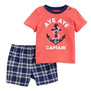 Baby Boy Carter's 'Aya Aye Captain' Graphic Top & Plaid Shorts Set