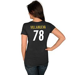 Women's Majestic Pittsburgh Steelers Alejandro Villanueva Tee