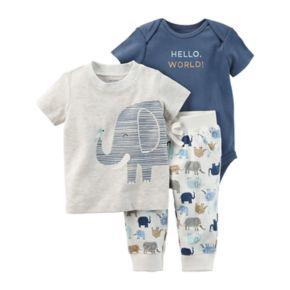 """Baby Boy Carter's """"Hello World"""" Bodysuit, Tee & Elephant Pants Set"""